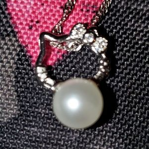 Hello Kitty Silver/Crystal Twist Chain Pendant NEW